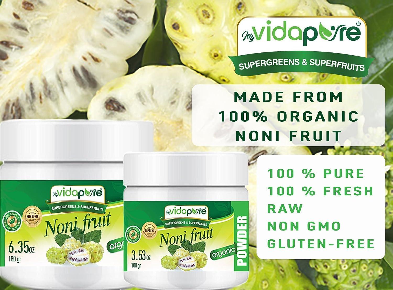 Polvo de fruta orgánico NONI. Pure RAW Superfood Gluten Free Non GMO para salud, repostería, belleza, cocina y suplementos dietéticos.