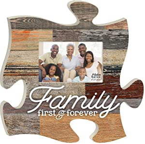 P. Graham Dunn Family First & Forever Multicolor Rustic 12 x 12 Wood Wall Art Puzzle Piece Plaque