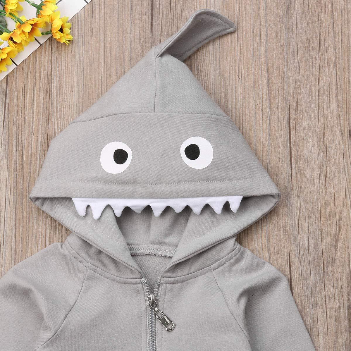 Newborn Infant Kids Boys Girls Cute Cartoon Shark Long Sleeve Zipper Hooded Romper Jumpsuit Top Outfits Clothes Grey