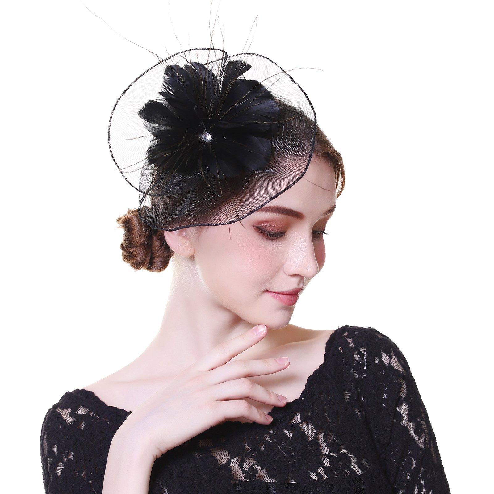 AWAYTR Fascinator Hat Mesh Flower Headwear Feathers on The Top Woman Mesh Derby Church Cap