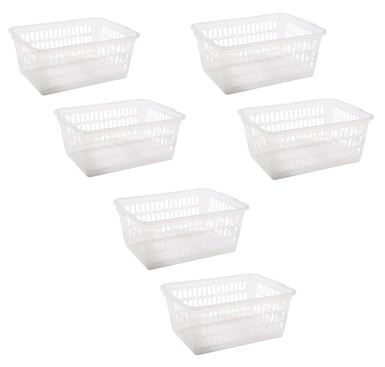 Wham Clear Plastic Handy Fruit Vegetable Kitchen Bathroom Office Storage Basket (Set of 2 30x20cm) e2e
