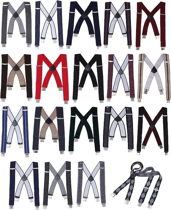 DonDon hombres tirantes 3,5 cm del ancho con 4 clips extra firme mate y cepillado de forma X