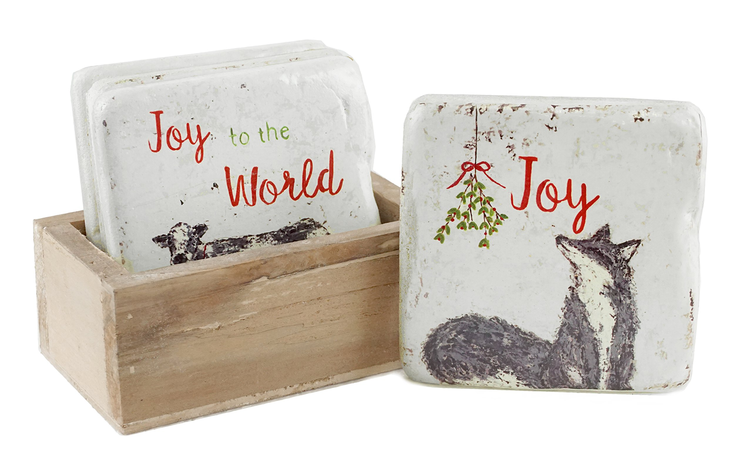 Distressed Style Farm Animal Holiday Coaster Set with Box