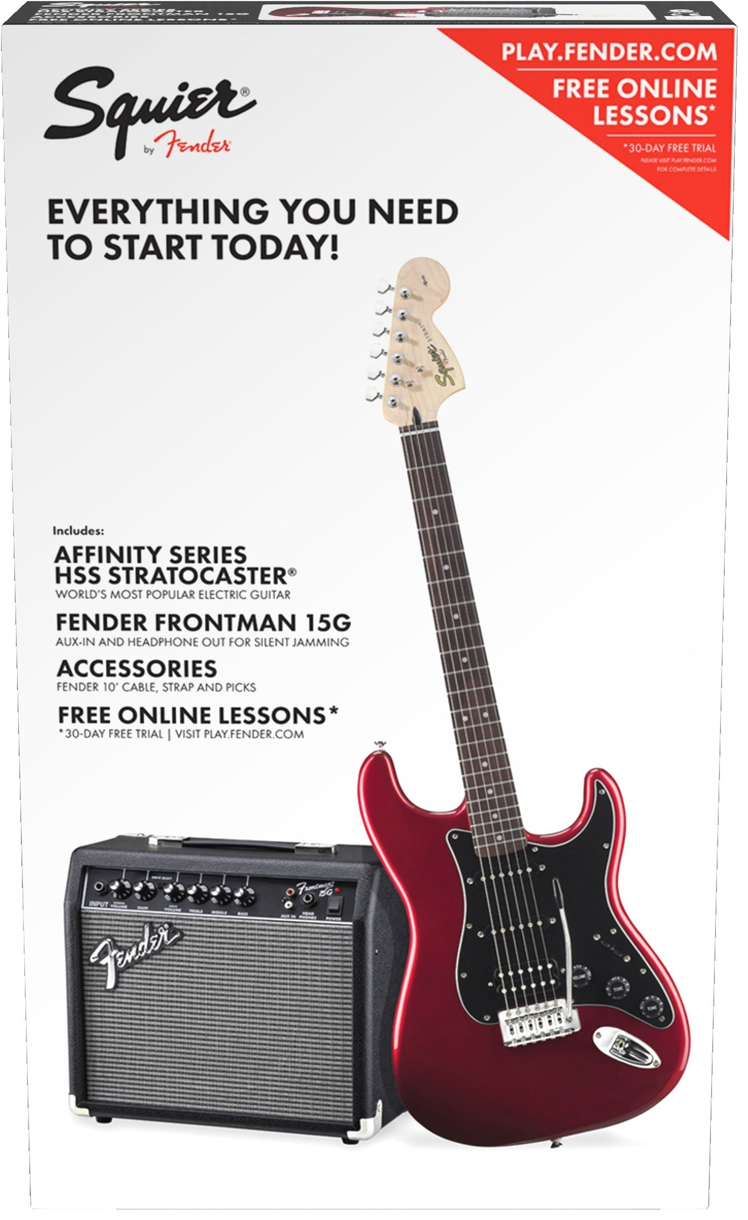 Squier by Fender Affinity Series Stratocaster Beginner Electric Guitar Pack - HSS - Candy Apple Red by Fender