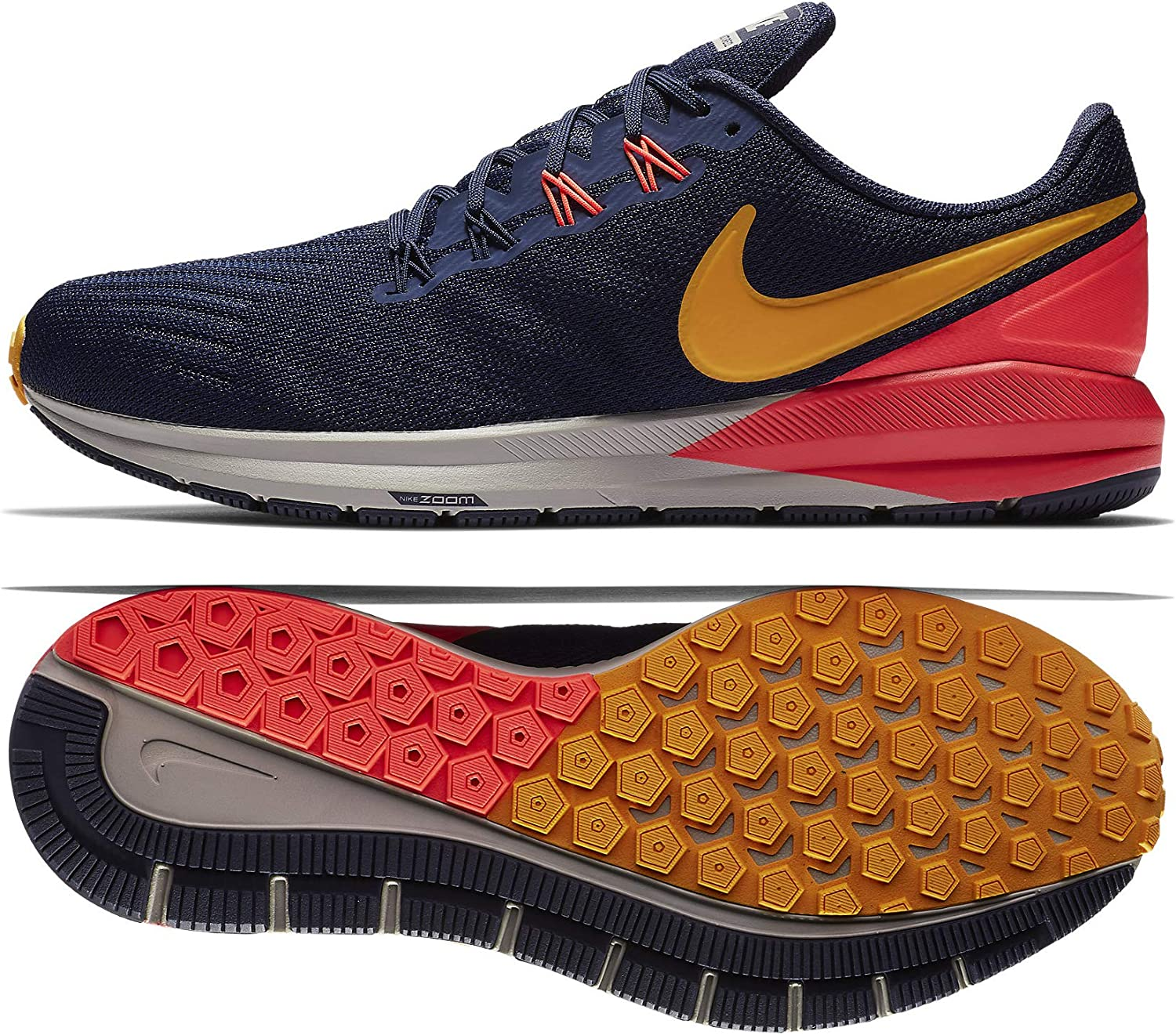 Nike Air Zoom Structure 22 AA1636-400 Blackened Blue Orange Peel Flash Crimson Men s Running Shoes 13