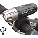 Night Provision™ ULTRA BRIGHT BX-550 USB Rechargeable LED Bike Headlight INTENSE WHITE 550 Lumens - Easy-Click Mount - Battery Capacity Check - Water Proof IPX65