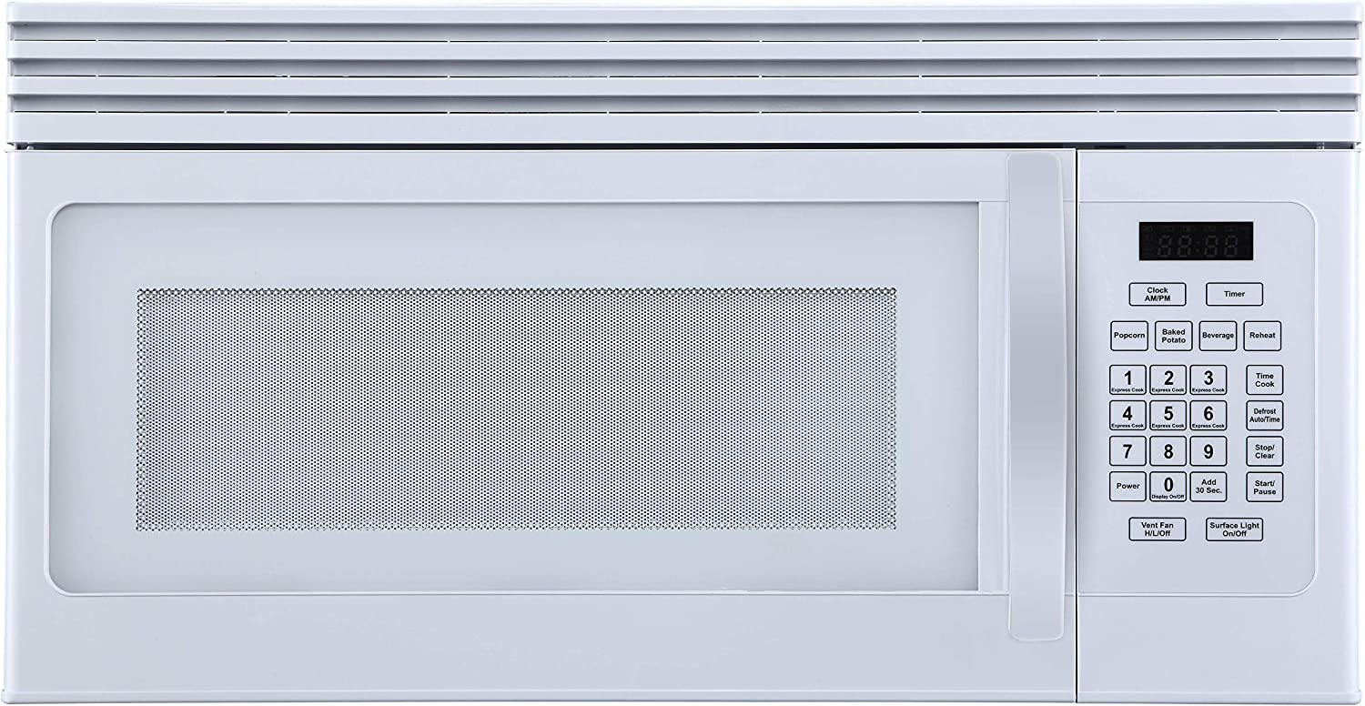 Black+Decker EM044KJN-P1 1.6-Cu. Ft Top Mount Air Reci Over-the-Range Microwave, White