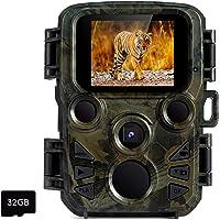FLAGPOWER Mini Wildkamera mit Bewegungsmelder Nachtsicht, Wildkamera Fotofalle 1080P Full HD 16MP Jagdkamera Infrarote 20m IP66 Wasserdicht Überwachungskamera mit Karte MEHRWEG