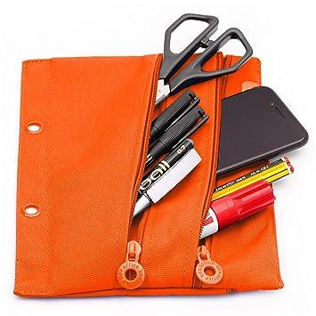 Colorline 52811 - Porta Todo con Anillas, Especial para Carpetas de Anillas, Material Escolar y Accesorios, Color Naranja, Medidas 23 x 18 cm