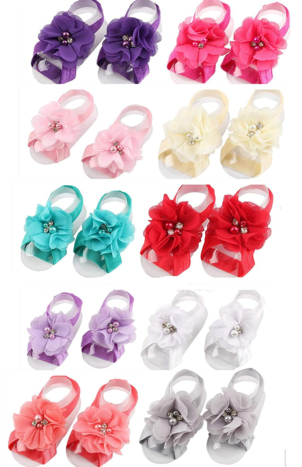 359b965a13010 Toptim Baby Girl's Barefoot Sandals Flower for Toddlers (10 Mix Colors)