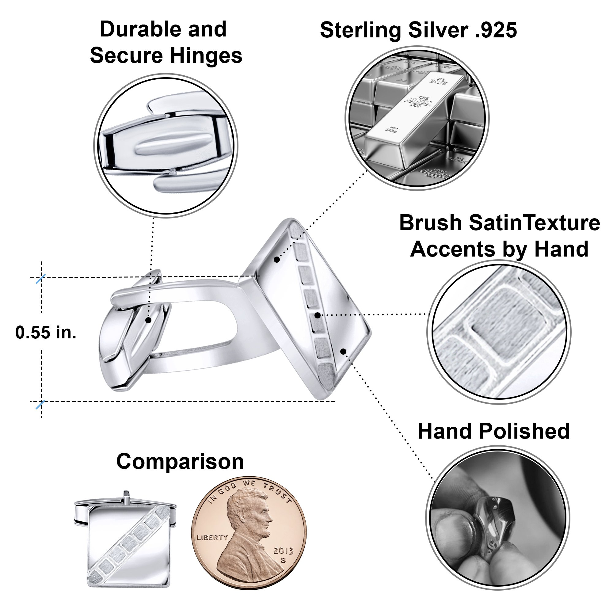Sterling Manufacturers Men's Sterling Silver .925 Square Cufflinks with Satin Finish Check Accents, Engravable, 14mm. By by Sterling Manufacturers (Image #6)
