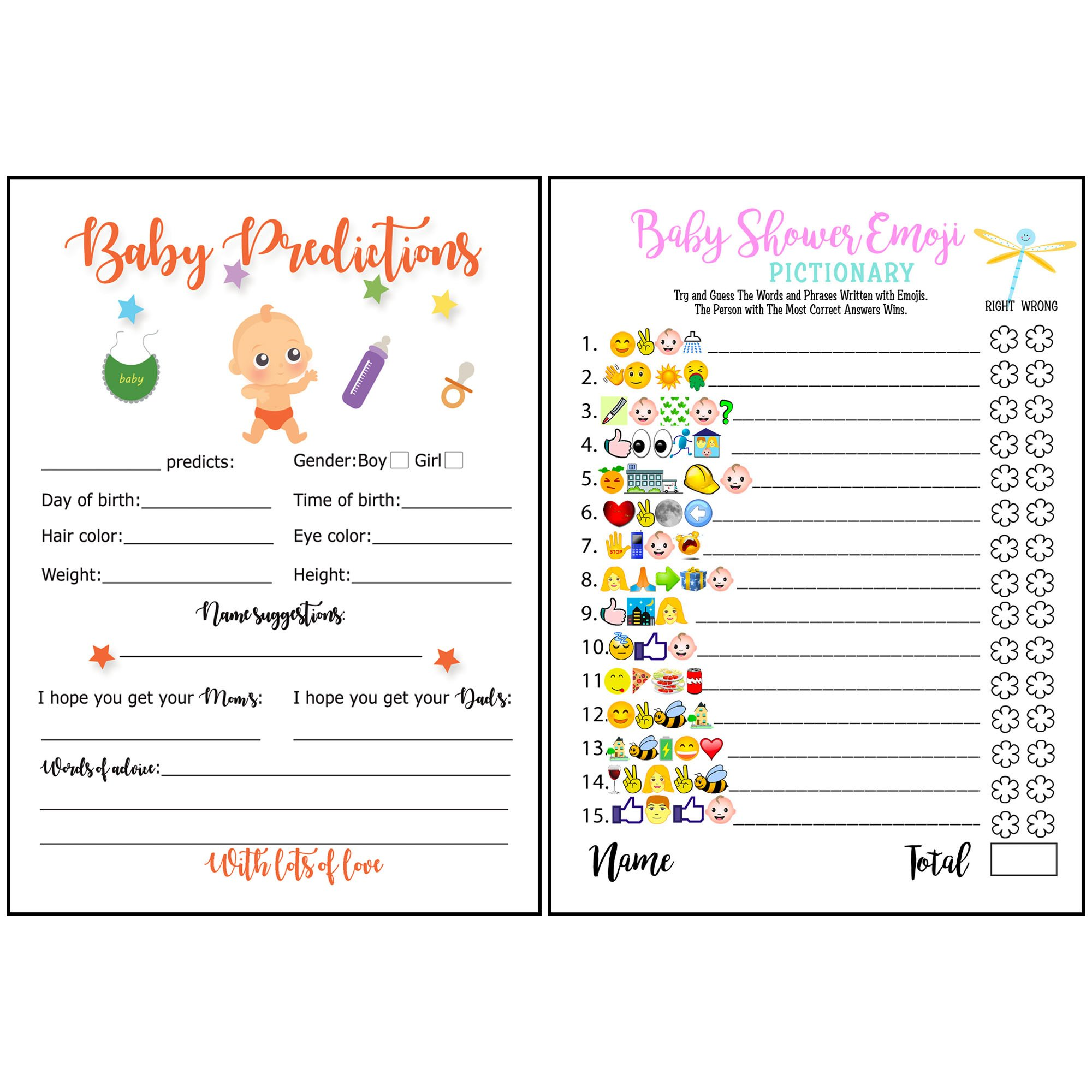 Baby Shower Games - Emoji Pictionary and Advice Prediction Cards, Fun Game for Girls Boys Gender Neutral Ideas for Shower Party, Prizes for Game Winners, Favorite adults Games for Baby Shower