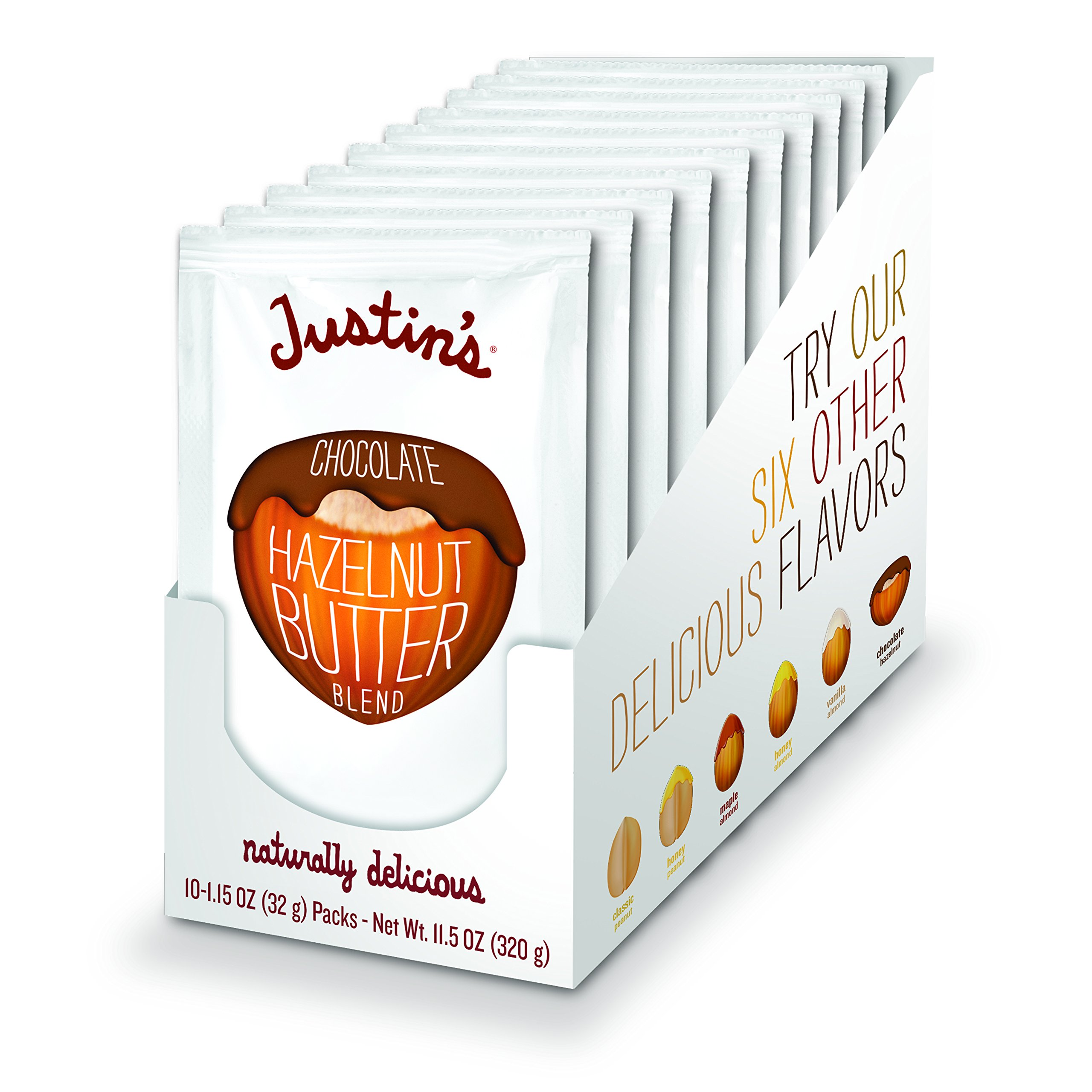 Chocolate Hazelnut Butter Squeeze Packs by Justin's, Organic Cocoa, Gluten-free, Responsibly Sourced, Pack of 10 (1.15oz each)