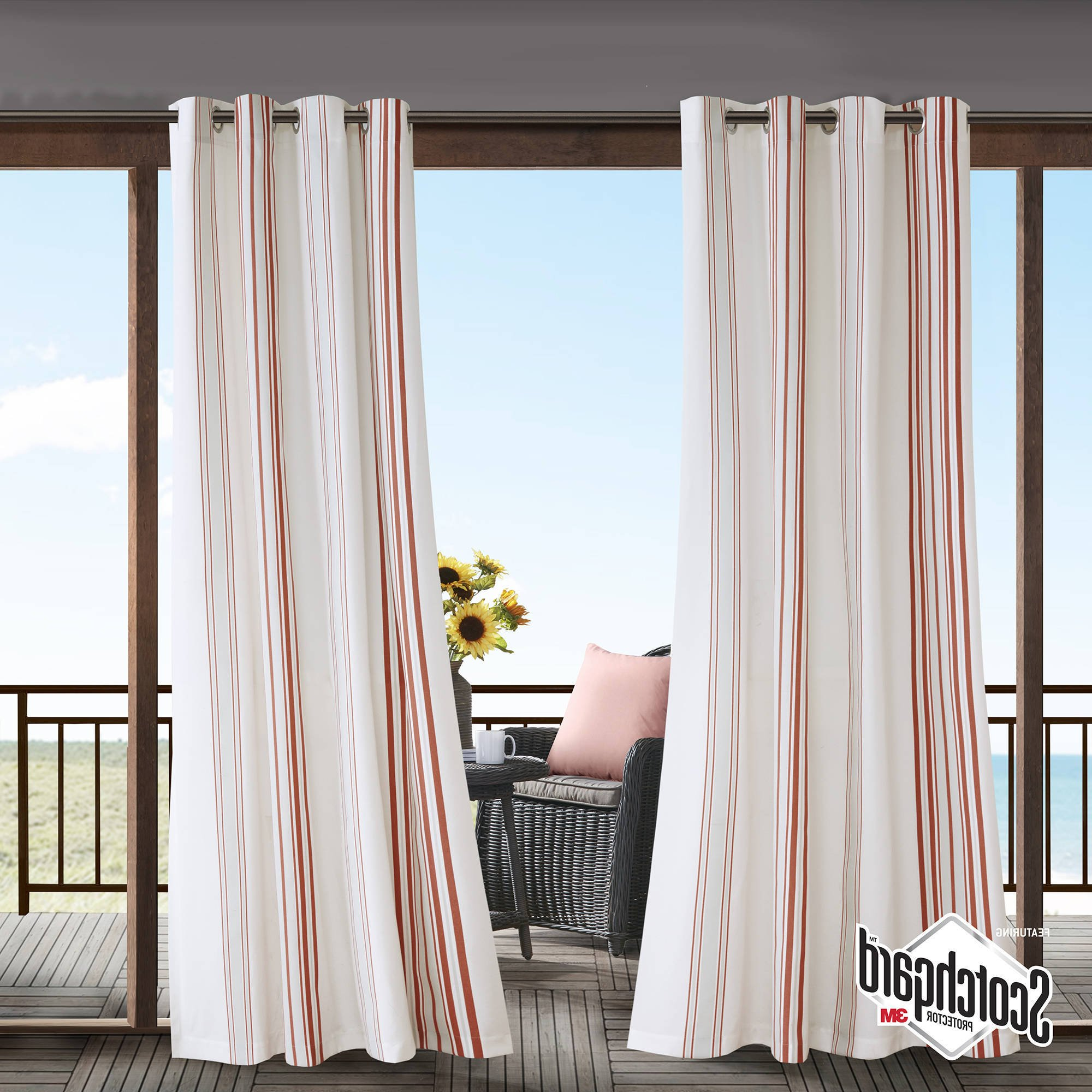 N&T 1 Piece Coral Cabana Stripes Gazebo Curtain Panel 95 Inch, White Coastal Print Outdoor Curtain Light Filtering For Patio Porch, Water Resistant Outdoor Drapes Sunroom Grommet, Polyester