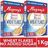 Bagrry's Total Bran Wheat Flakes- No Added Sugar 500Gm Pack of 2
