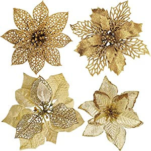 24 Pcs 4 Styles Christmas Gold Metallic Mesh Glitter Artificial Poinsettia Flower Stems Tree Ornaments in Box for Gold Christmas Tree Wreaths Garland Floral Gift Winter Wedding Holiday Decoration