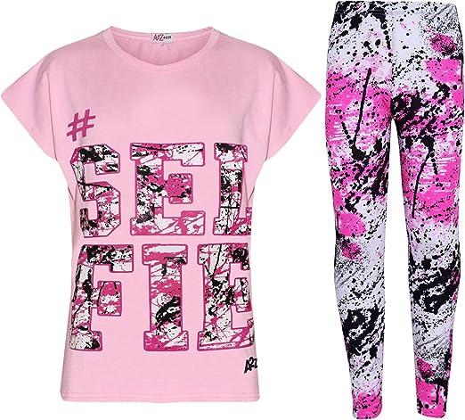 Kids Girls Neon Green Looking Awesome Print Designer T Shirt /& Legging Set 5-13Y