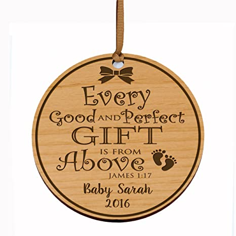 Amazon.com: Personalized Baby\'s First Christmas Ornament New Parent ...