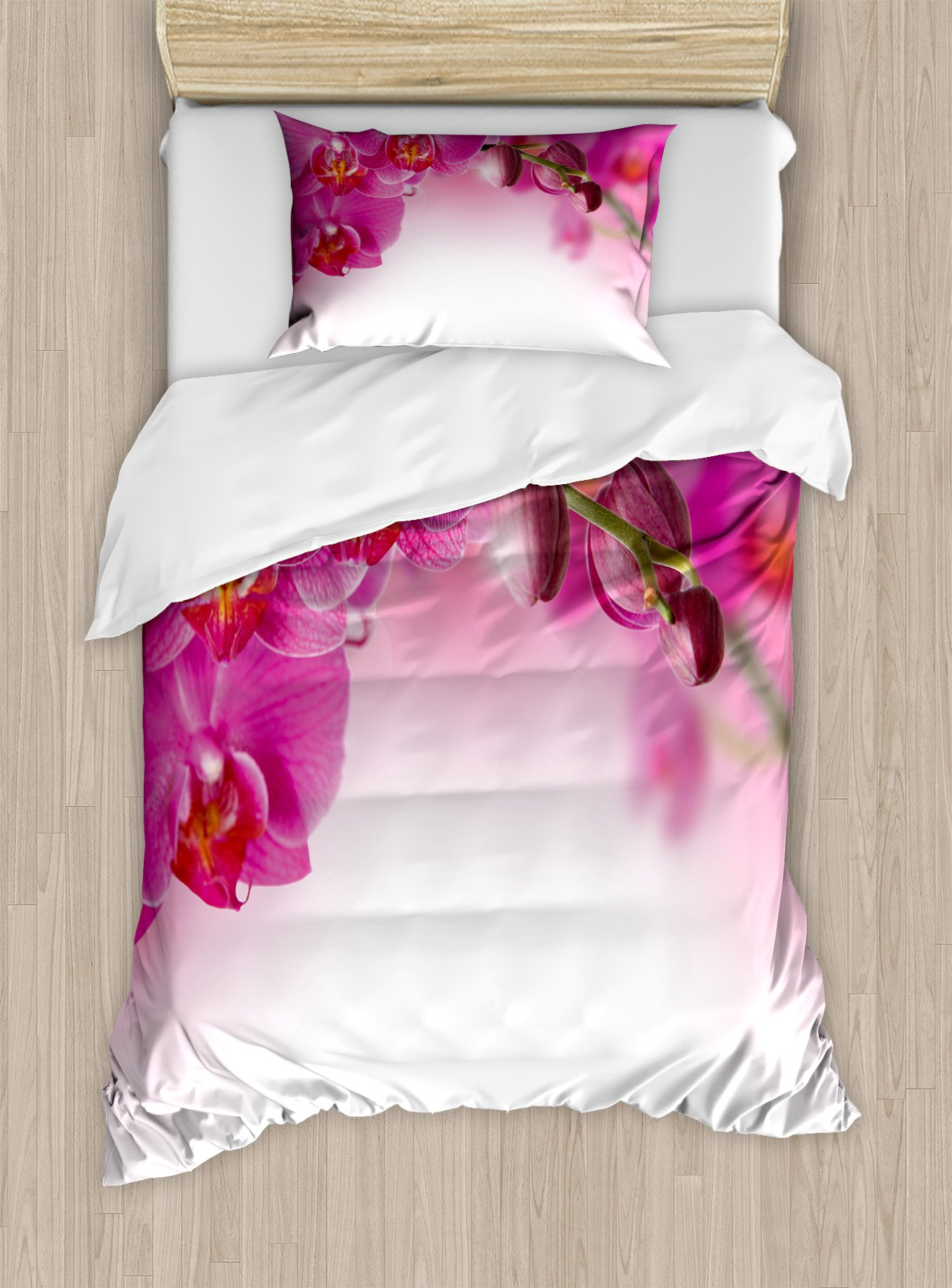 Ambesonne Spa Duvet Cover Set Twin Size, Blossoming Orchid Branch Exotic Nature with Feng Shui Elements Spa Zen Garden Botany, Decorative 2 Piece Bedding Set with 1 Pillow Sham, Multicolor