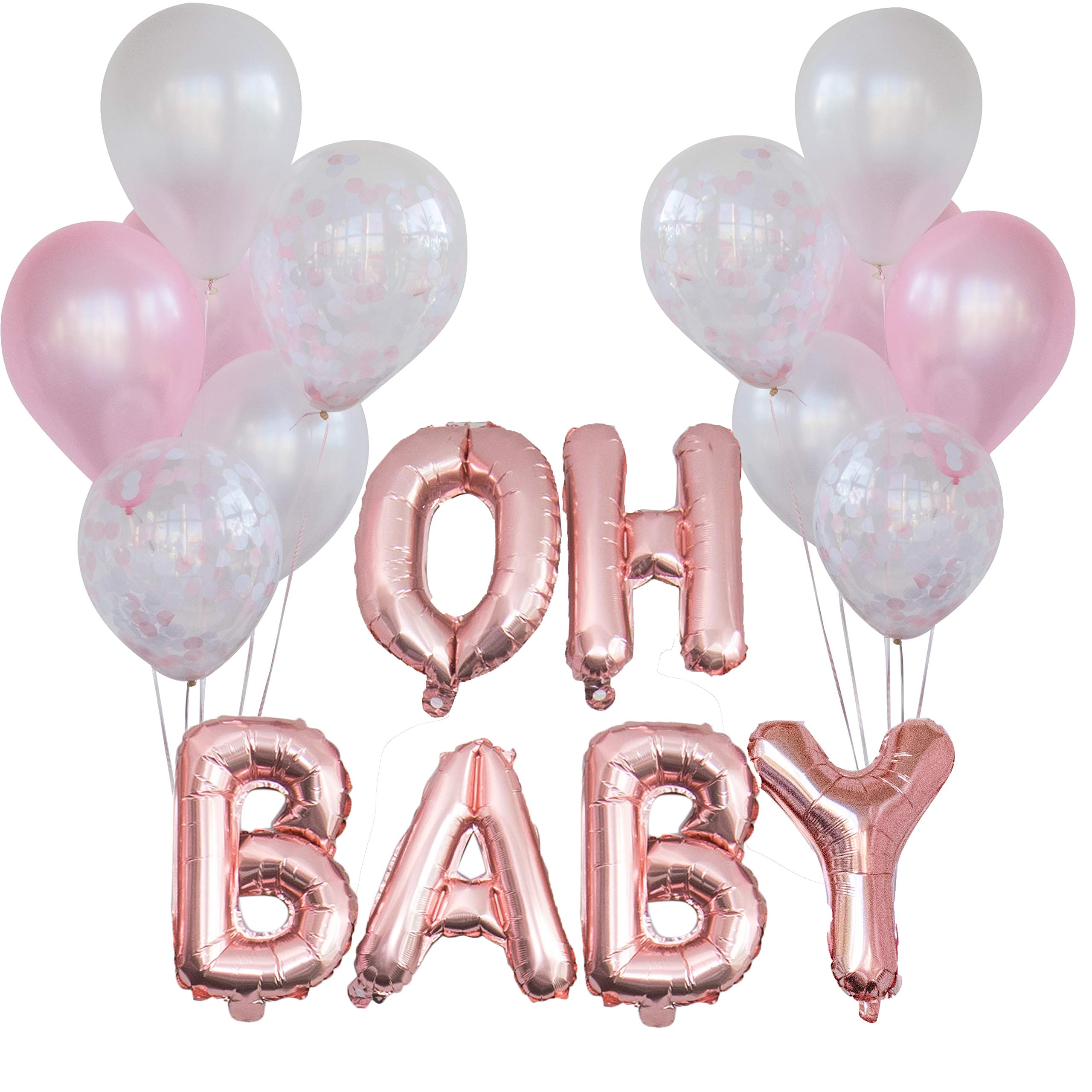 Baby Shower Decorations for Girl | 16'' OH Baby Balloon Letters (Rose Gold) | Girl Baby Shower Balloons. (Pack of 12) (Pink, Confetti, White)