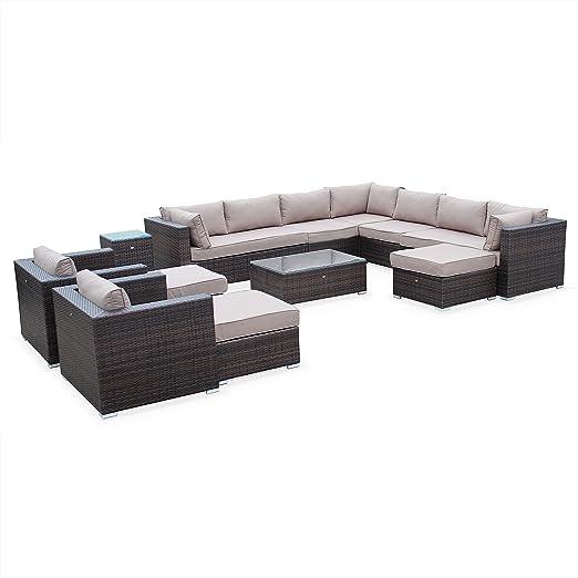 Alices Garden - Mueble de Jardin, Conjunto Sofa de Exterior, Ratan Sintetico, Resina trenzadao - Marron/Marron, Cojines Marron Claro - 13 plazas - ...
