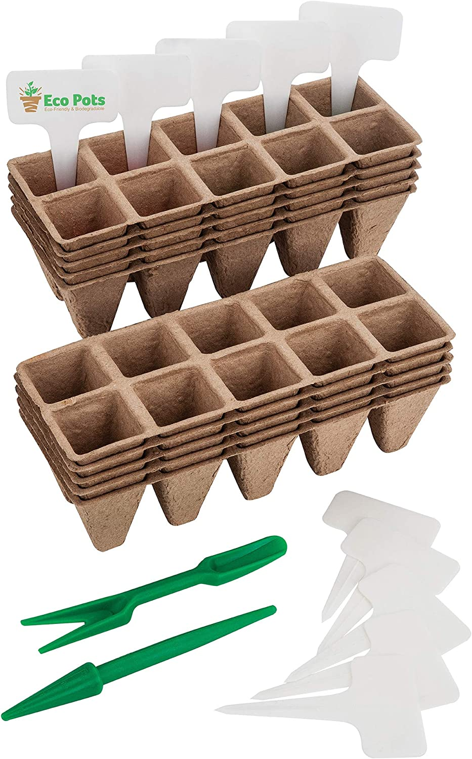 Seed Starter Trays – Organic Plant Peat Pots – Biodegradable Seedling Planting Kit for Indoor Outdoor Plants, 100 Cell Pack with Bonus 10 Plastic Plant Markers, Perfect for Pot Seedling