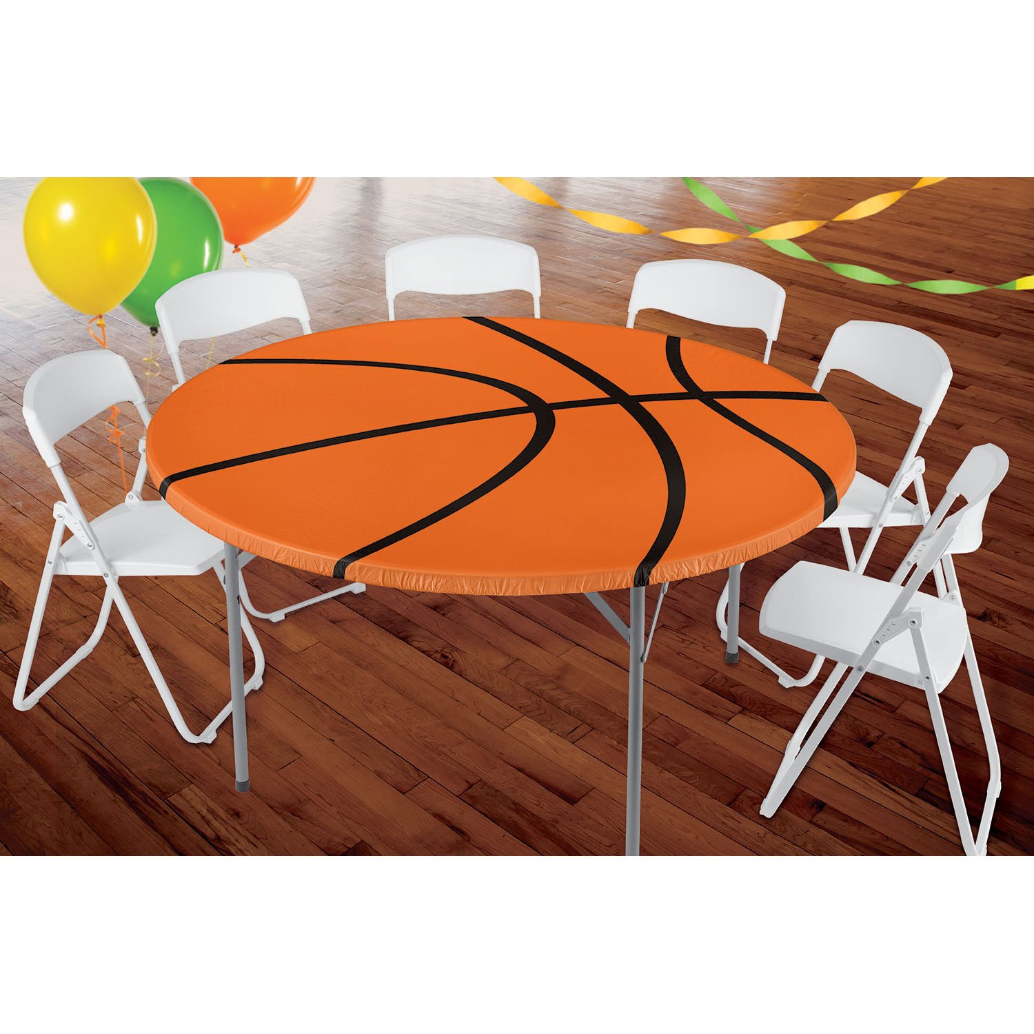 Amscan Basketball Round Party Table Cover W/Elastic, 6 Ct, Multicolor