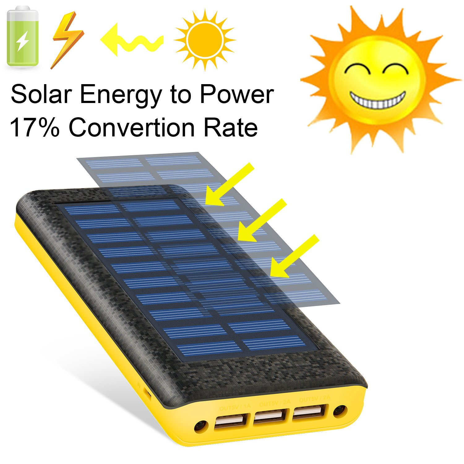 Solar charger Ruipu 24000mah Power Bank Portable charger With 3 USB Port External Battery Pack Phone Charger With 2 Flashlight For iPhone iPad Samsung HTC Cellphones Tablet And More
