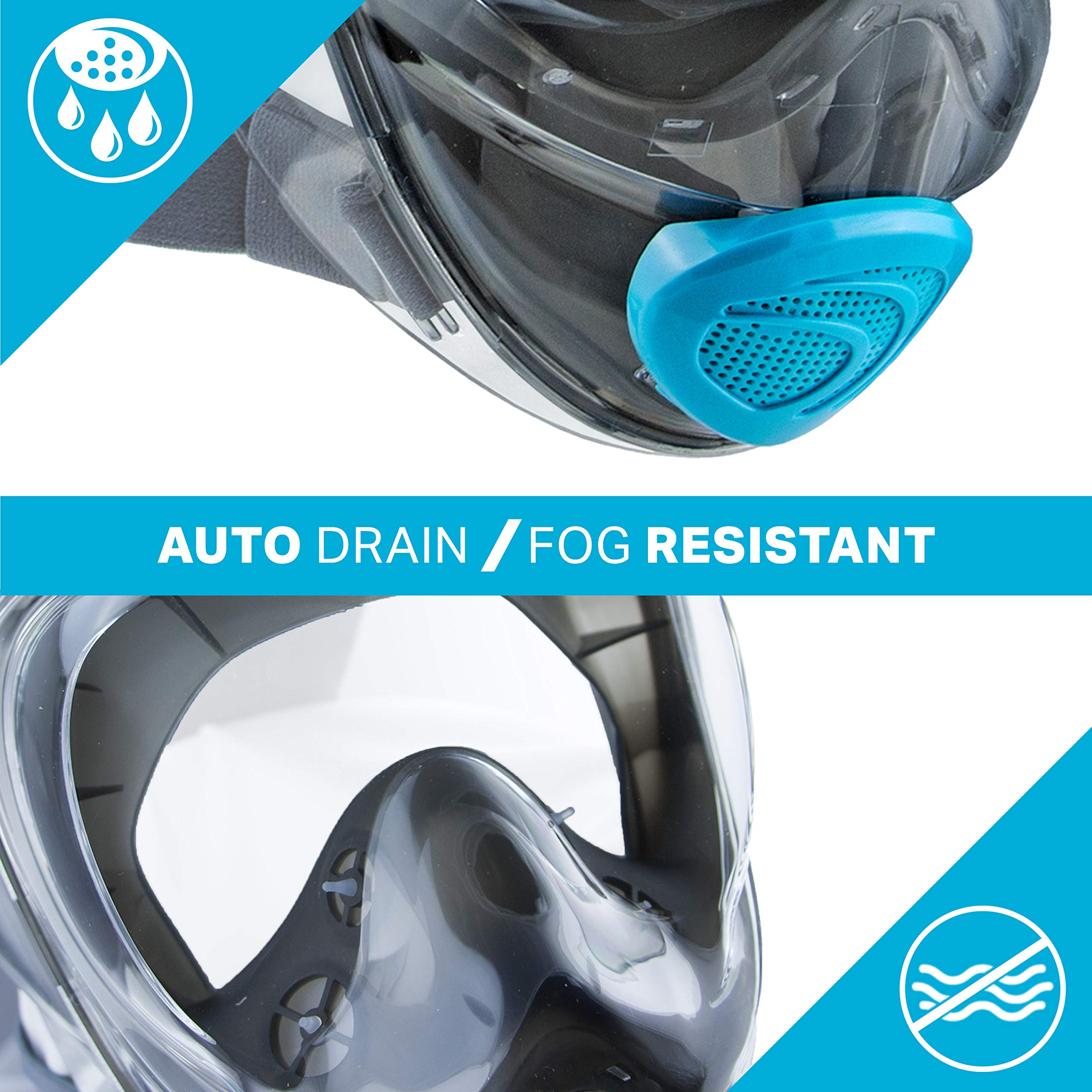 WildHorn Outfitters Seaview 180° V2 Full Face Snorkel Mask with FLOWTECH Advanced Breathing System - Allows for A Natural & Safe Snorkeling Experience- Panoramic Side Snorkel Set Design by WildHorn Outfitters (Image #7)