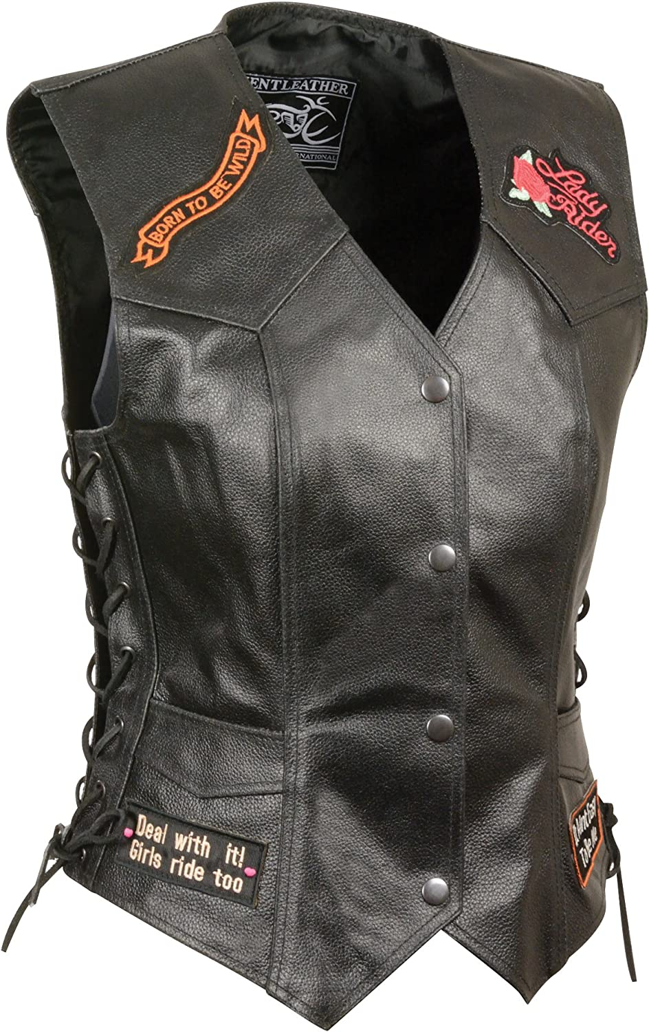 Black, 5X-Large Event Leather Womens 9 Patches Vest