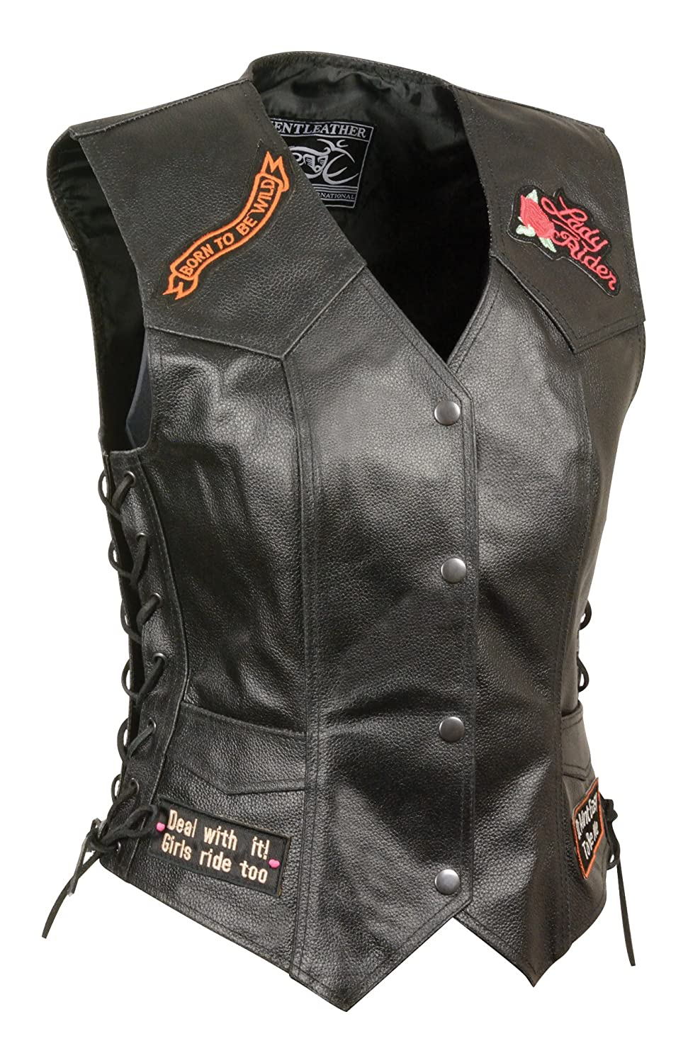 Black, X-Large Event Leather Womens 9 Patches Vest