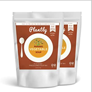 Plantly Panang Vegetable Vegan Soup Mix   2 pack, 4 servings   Dairy Free, Soy Free, Gluten Free,   Creamy, Thai-Inspired Freeze Dried   Add hot water. Ready in seconds