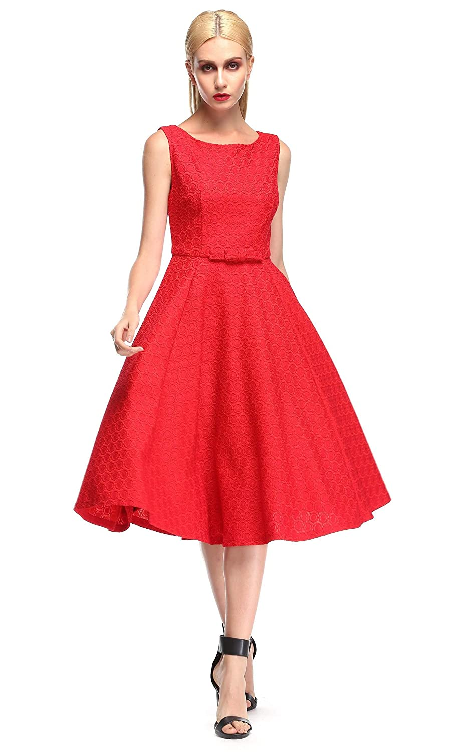 ACEVOG Damen Kleid Ärmlos Party Kleid Spitze Schlank Dress