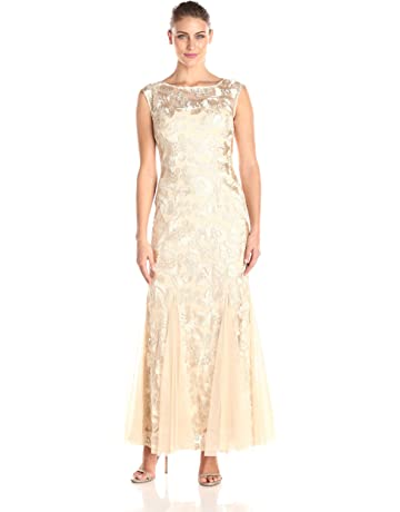 de95ddc51f Alex Evenings Women's Embroidered Dress with Illusion Neckline