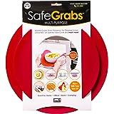 Safe Grabs: Multi-Purpose Silicone Original Microwave Mat as Seen on Shark Tank   Splatter Guard, Trivet, Hot Pad, Pot Holder, Minimize Mess (BPA Free, Heat Resistant, Dishwasher Safe), Set of 2, Red