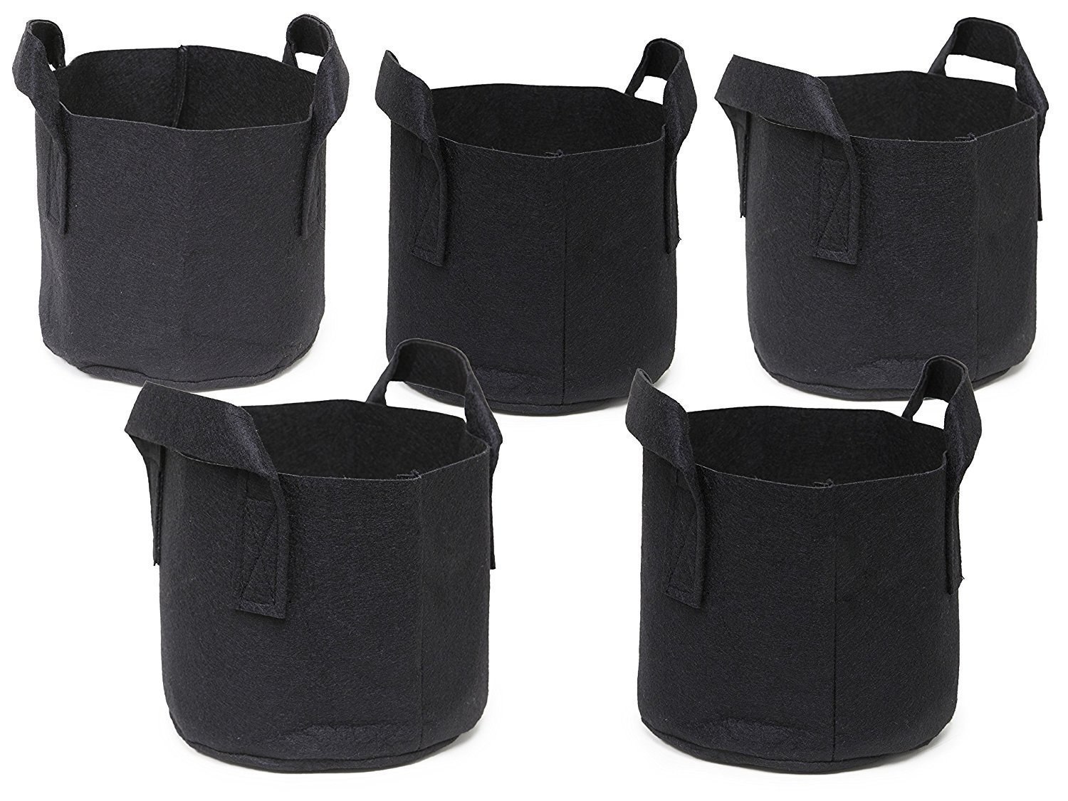 Ndier 5 Pack Plant Growing Bag Planter Bags with Handle Straps Aeration Fabric Pots , Non-woven Breathable Permeable Degradable (Black) (3 gallon)