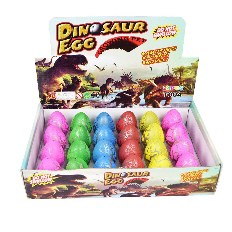 Yeelan Huevo de Dinosaurio Huevo de incubación Creciendo Dino Dragon Huevo para niños y niños Paquete de 24 Piezas (Coloreado, 5.5cm / 2.2