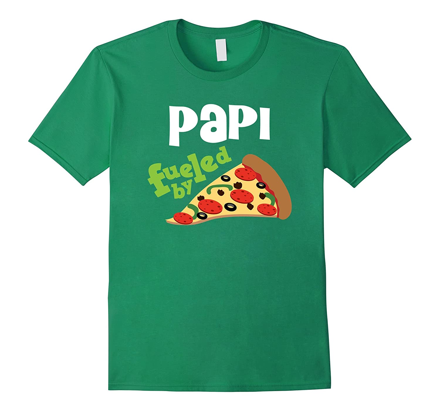 Men's Papi Fueled By Pizza T-shirt Daddy Grandpa Fathers Day Gift-4LVS