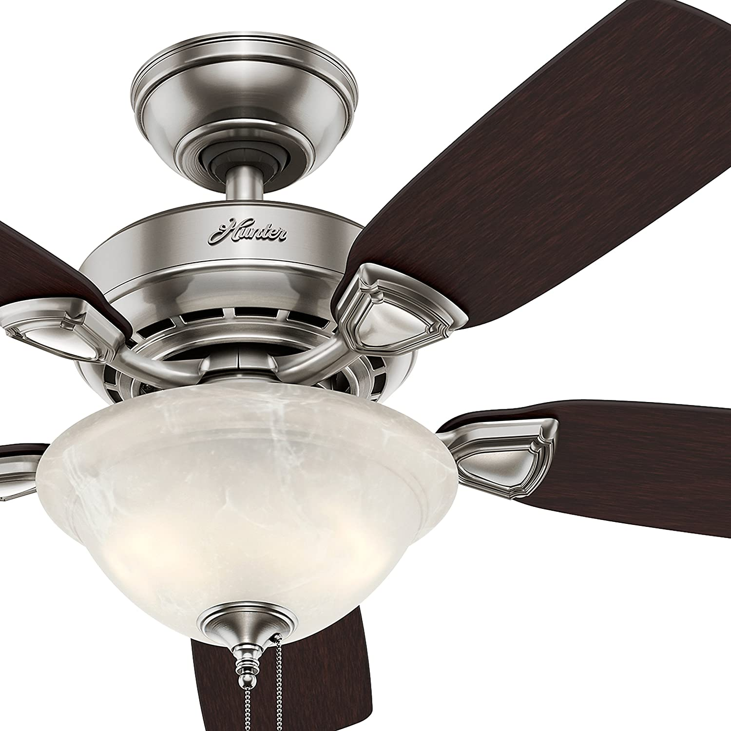 Hunter Fan 44 inch Brushed Nickel Finish Ceiling Fan with Painted Cased White Glass Light Kit – 90 Pre-assembled Renewed