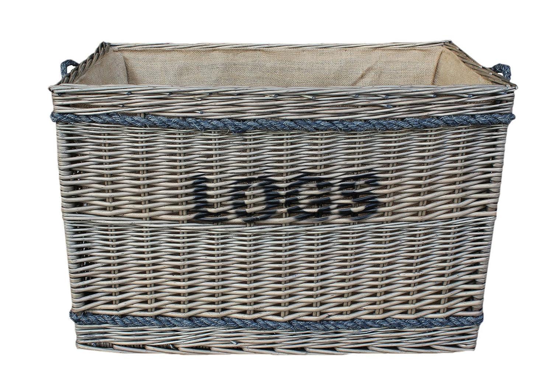 Extra Large Jumbo Delux Rectangular Hessian Lined Log Basket Antique Wash Finish Full Cane Willow Rope Handled Willow & Avon