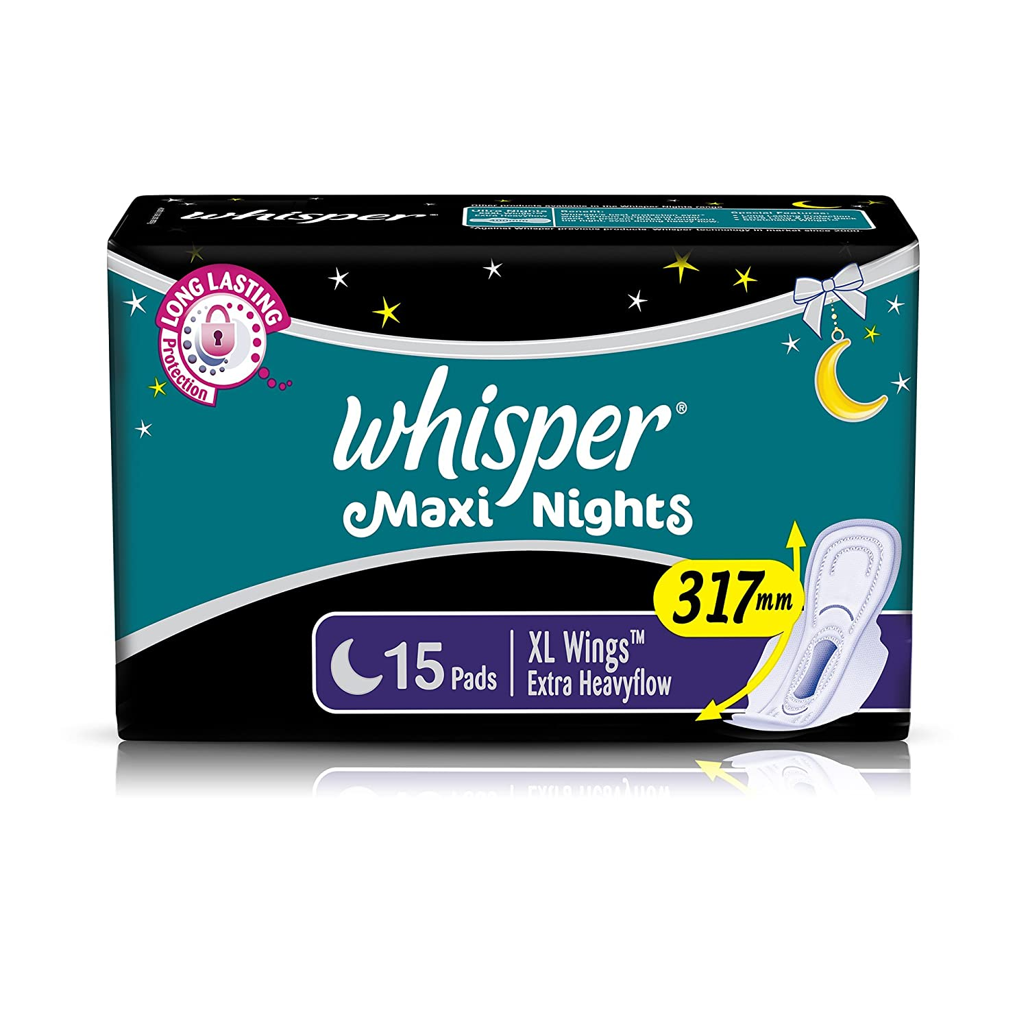 Whisper Maxi Overnight Sanitary Pads - XL Wings (15 Count)