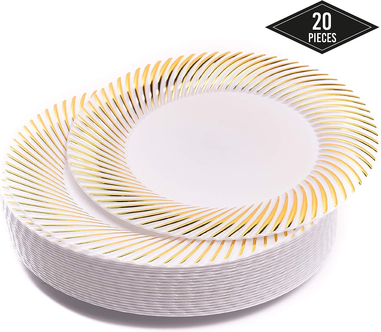 20 Elegantes Pequeños Platos Desechables de Plástico Duro con Borde Oro, 18cm| Platos de Postre Resistentes y Reutilizables| Vajilla Desechable Dorado para Catering Bodas Fiestas.