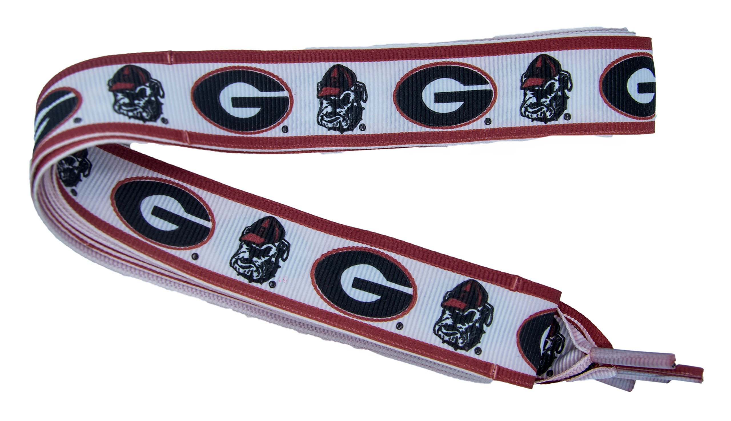 NCAA Georgia Bulldogs Shoelaces, Red/Black, One Size