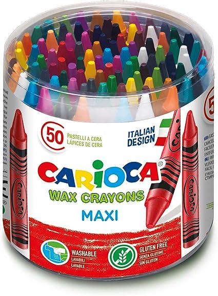 Carioca Maxi Wax   42388 - Caja de Ceras Maxi, Colores Surtidos 50 Unidades: Amazon.es: Juguetes y juegos