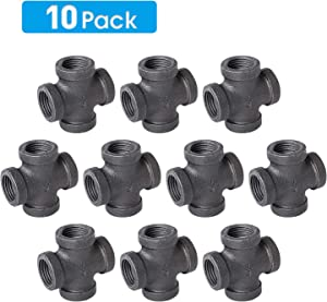 "1/2"" 4-Way Cross Fitting Connector, Home TZH Malleable iron Pipe Fittings for Industrial vintage style, Flanges with Threaded Hole for DIY Project/Furniture/Shelving Decoration(10, 1/2"")"
