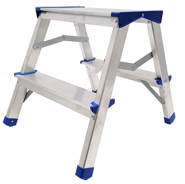 T/ÜV gepr/üft Aluminium Leiter Alu Doppelstufenleiter bis 150 Kg 3 Stufen - 60 cm EN 131 Trittleiter Bockleiter Haushaltsleiter Klappleiter Klapptrittleiter
