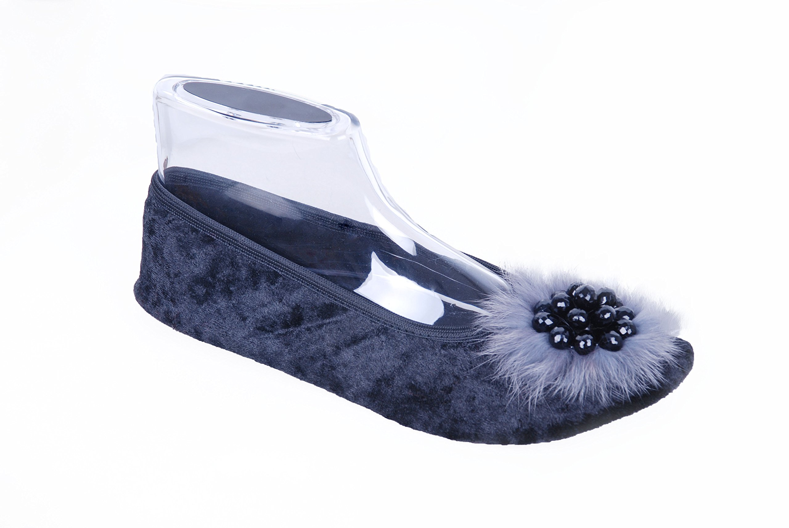 Ümit Babet Womens Slippers. Elegant Portable Velvet House Ballerina Slippers (8, Grey)