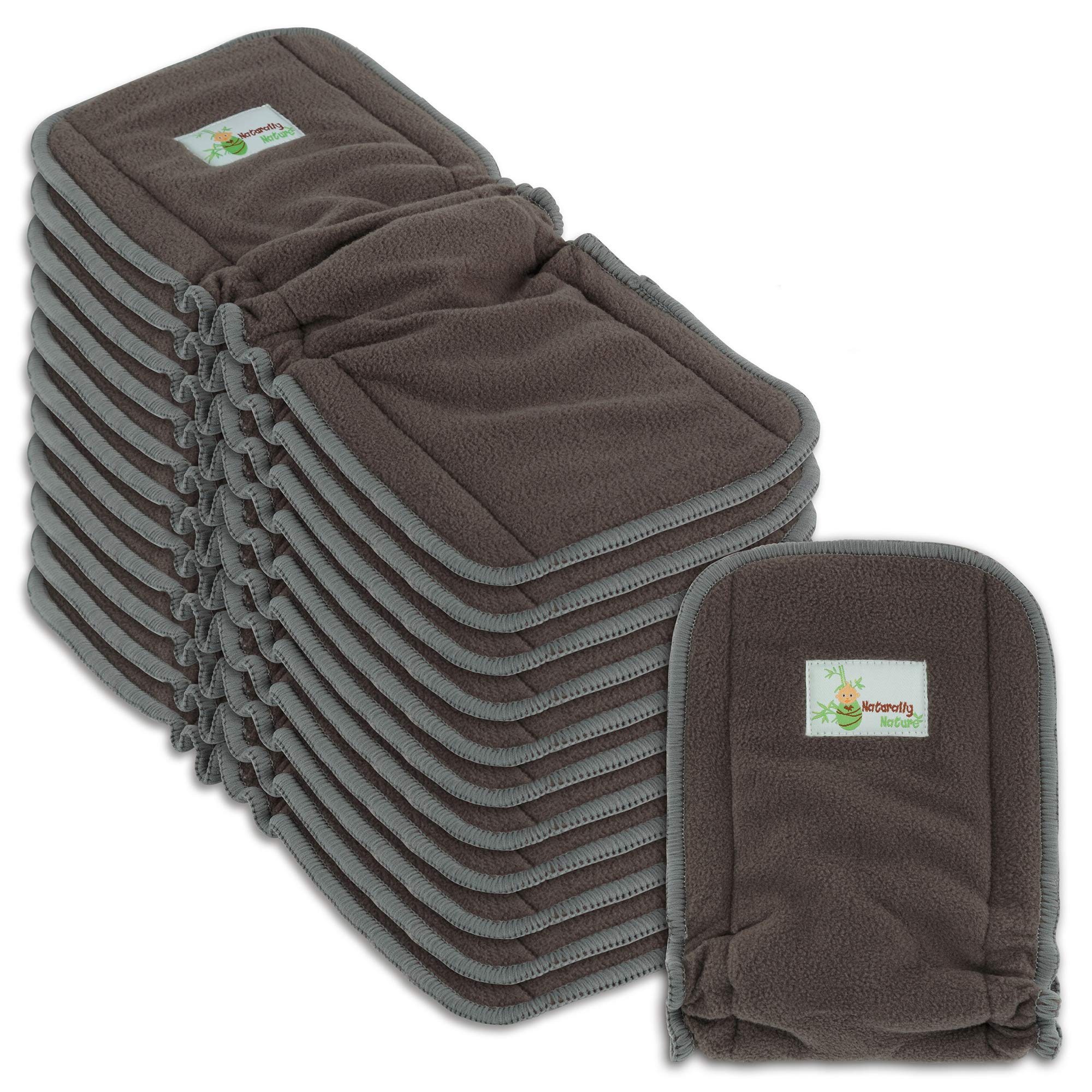 Naturally Natures Cloth Diaper Inserts 5 Layer - Insert - Charcoal Bamboo Reusable Diaper Liners with Gussets (Pack of 12) by Naturally Nature