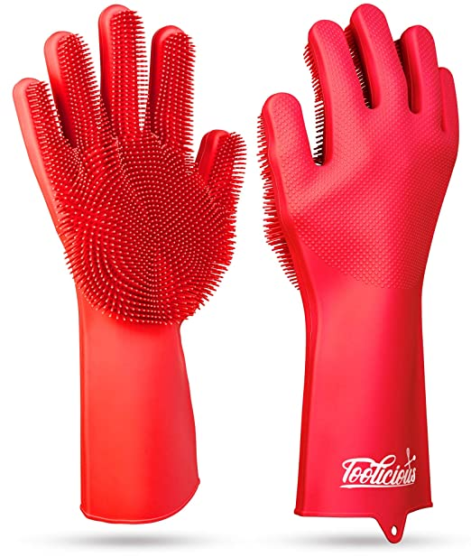 Magic SakSak Reusable Silicone Dishwashing Gloves | Pair Of Rubber Scrubbing Gloves For Dishes | Wash Cleaning Gloves With Sponge Scrubbers For Washing Kitchen, Bathroom, Car and More, Red, 14.5""