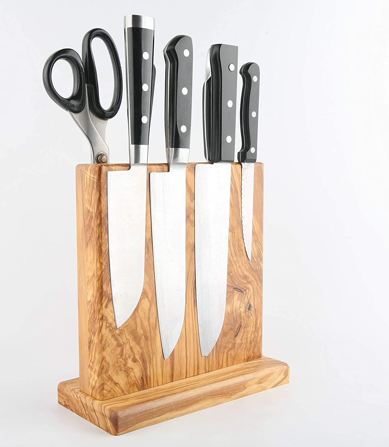 BOUMBI Beautiful Grain Wood Magnetic Knife Block with Strong Magnets, Double Side Cutlery Display Stand and Storage Rack (Olive Wood)